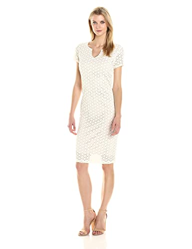 Ronni Nicole Women's Short Sleeve Notch Neck Laser Cut Midi