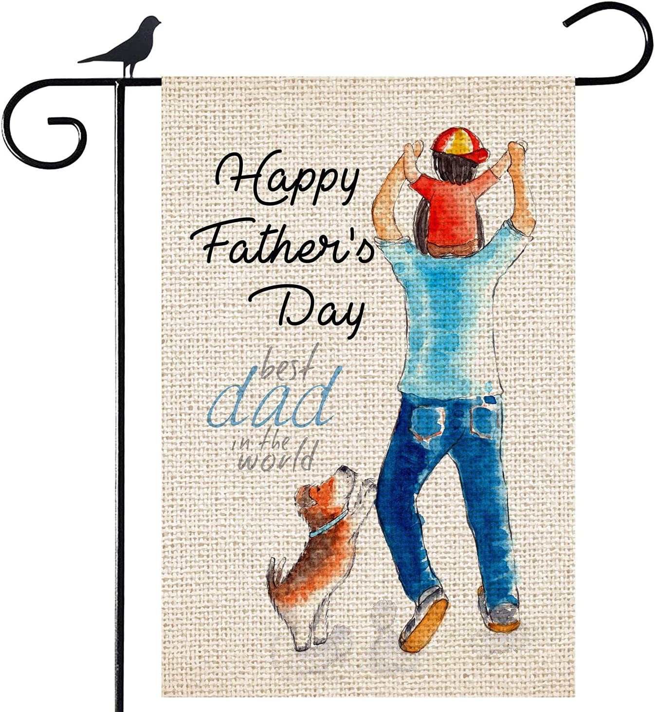 Shmbada Happy Father's Day Burlap Garden Flag, Best Dad in The World Double Sided Vertical Outdoor Decorative for Home Yard Lawn Porch Patio Farmhouse, 12.5 x 18.5 Inch