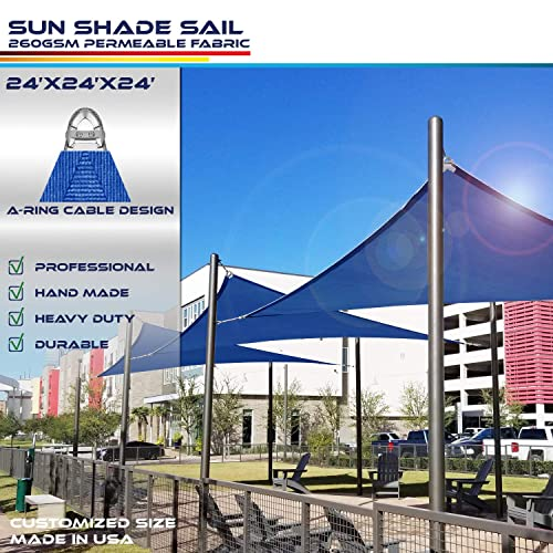 Windscreen4less A-Ring Reinforcement Large Sun Shade Sail 24 x 24 x 24 Equilateral Triangle Super Heavy Duty Strengthen Durable 260GSM -Galvanized Cable Enhanced – Blue 7 Year Warranty
