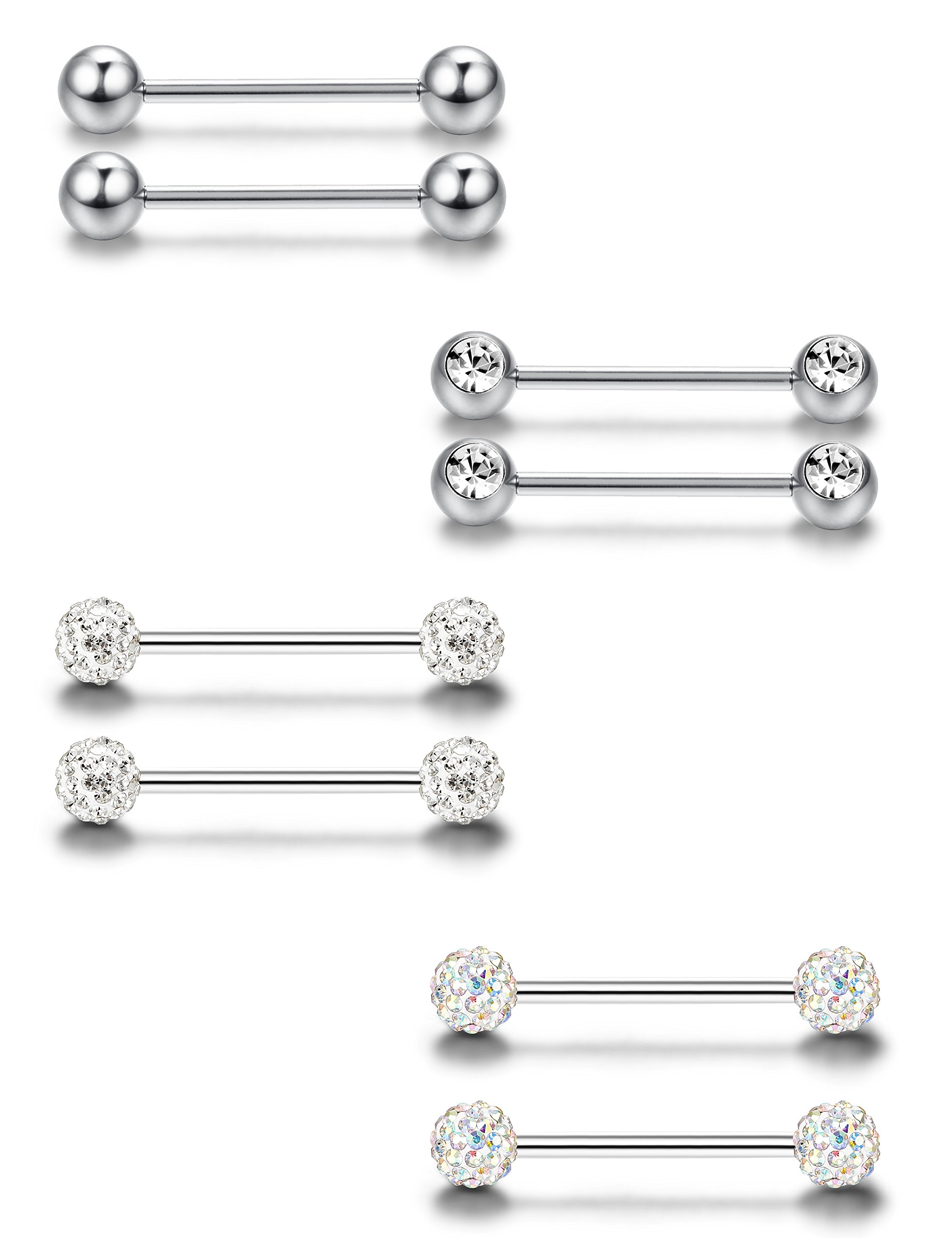 ORAZIO 4 Pairs 316L 14G Stainless Steel Nipple Ring Body Piercing Tongue Rings Bars Piercing for Women (B:4 Pairs, Silver)