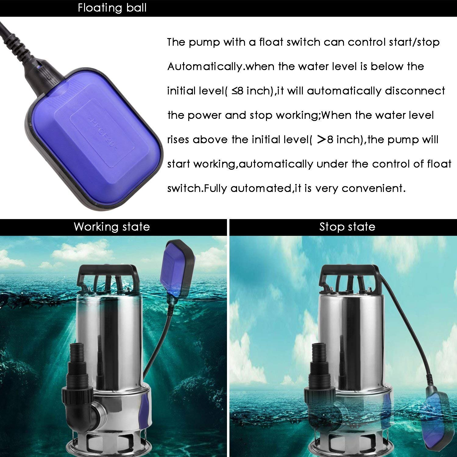 Homdox Submersible Water Pump 1.5 HP 1100W Garden Stainless Steel Sump Pump Pool Pump with Float Switch and 15ft Cable by Homdox (Image #6)