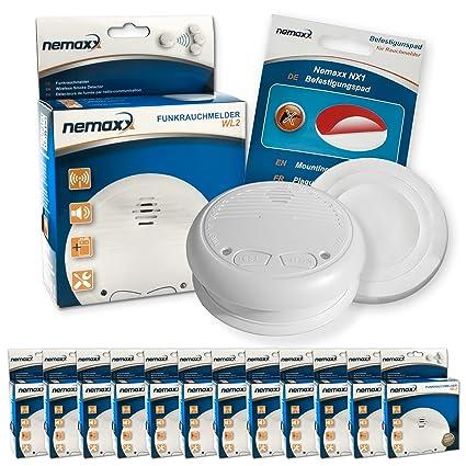 Nemaxx WL2-VDS - Detector de humo inalámbrico (12 unidades, certificado EN 14604