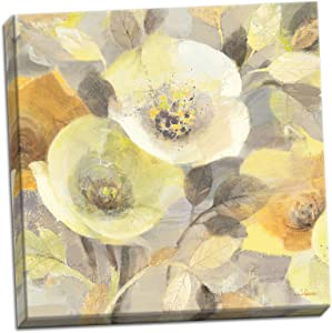 Gango Home Décor Gorgeous Gray and Yellow Blooming Spring Floral Canvas by Albena Hristova; One 16x16in Hand-Stretched Canvas