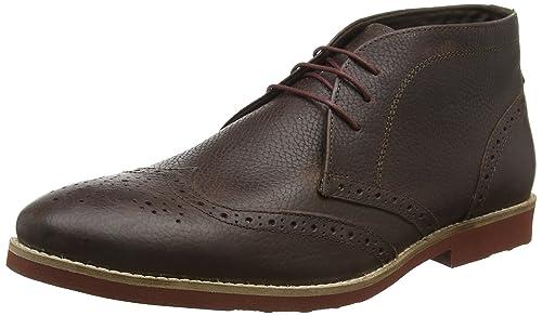 Red Tape - Zapatos de cordones de 100 % piel para hombre Marrón marrón L, color Marrón, talla 41.5