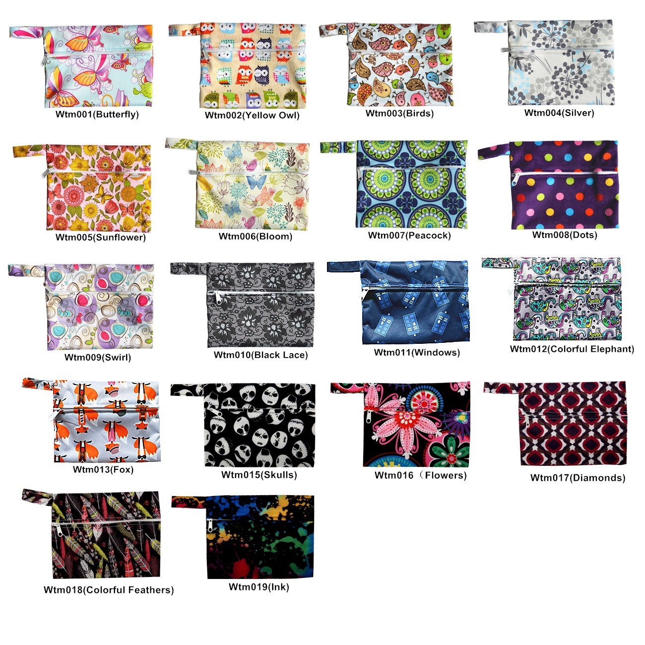 "24 Pack Mini/small Wet Bags for Mama Cloth Menstrual Pads Tampon, Baby Bib,waterproof Reusable, 20 Designs, 7"" X 5.5"" 81C2Q7GBv2L"