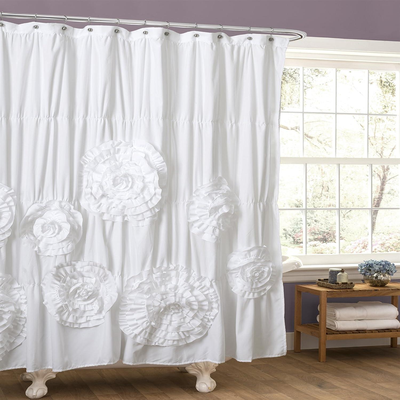 White ruffle shower curtain - Amazon Com Lush Decor Serena Shower Curtain 72 By 72 Inch Ivory Home Kitchen