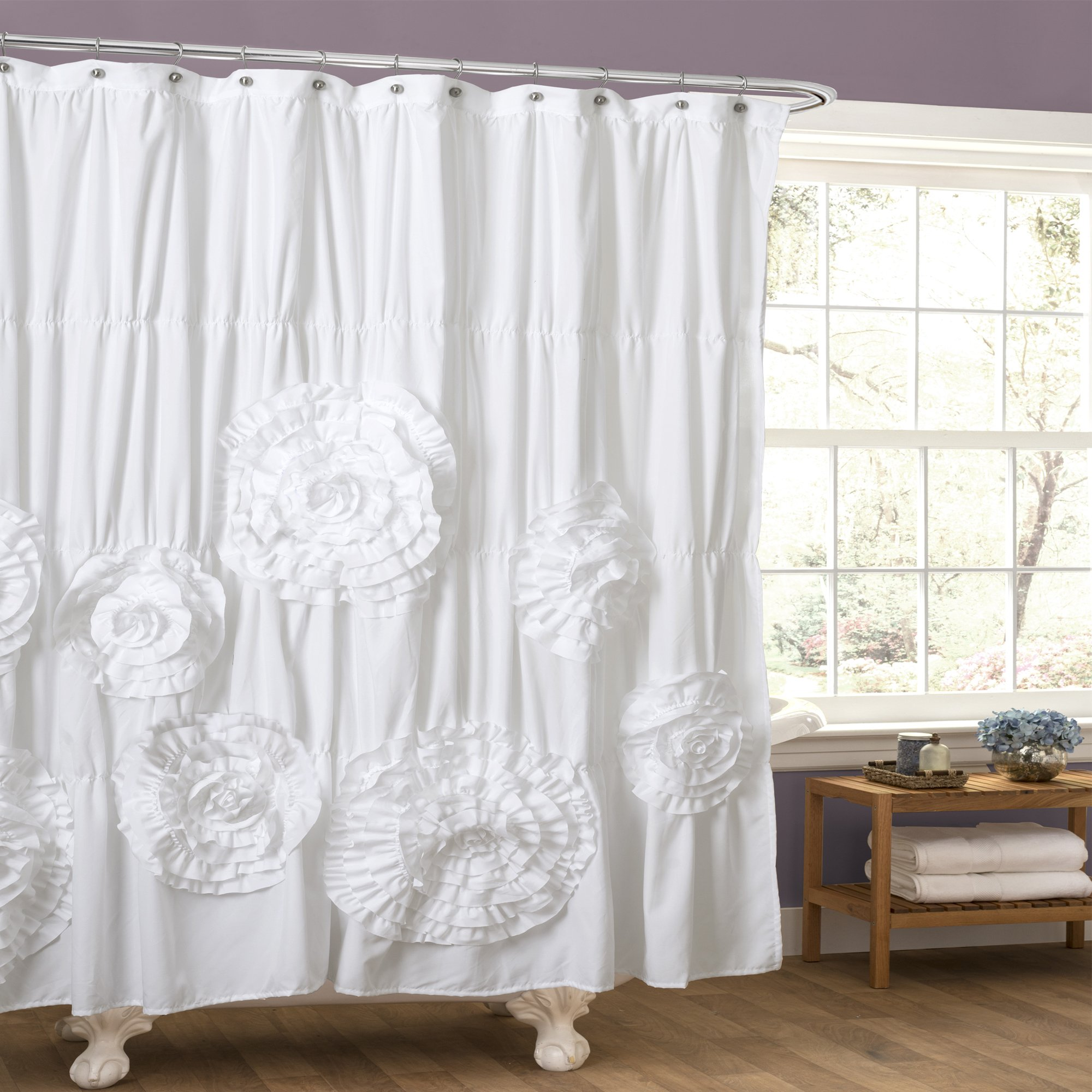 Details About Elegant Shower Curtain White Shabby Chic Flower Bohemian Ruffle Anthropologie