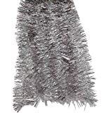 Elegant Hanging Holiday Tinsel Garland 3-inches Thick x 12-feet - Silver w Iridescent Loops