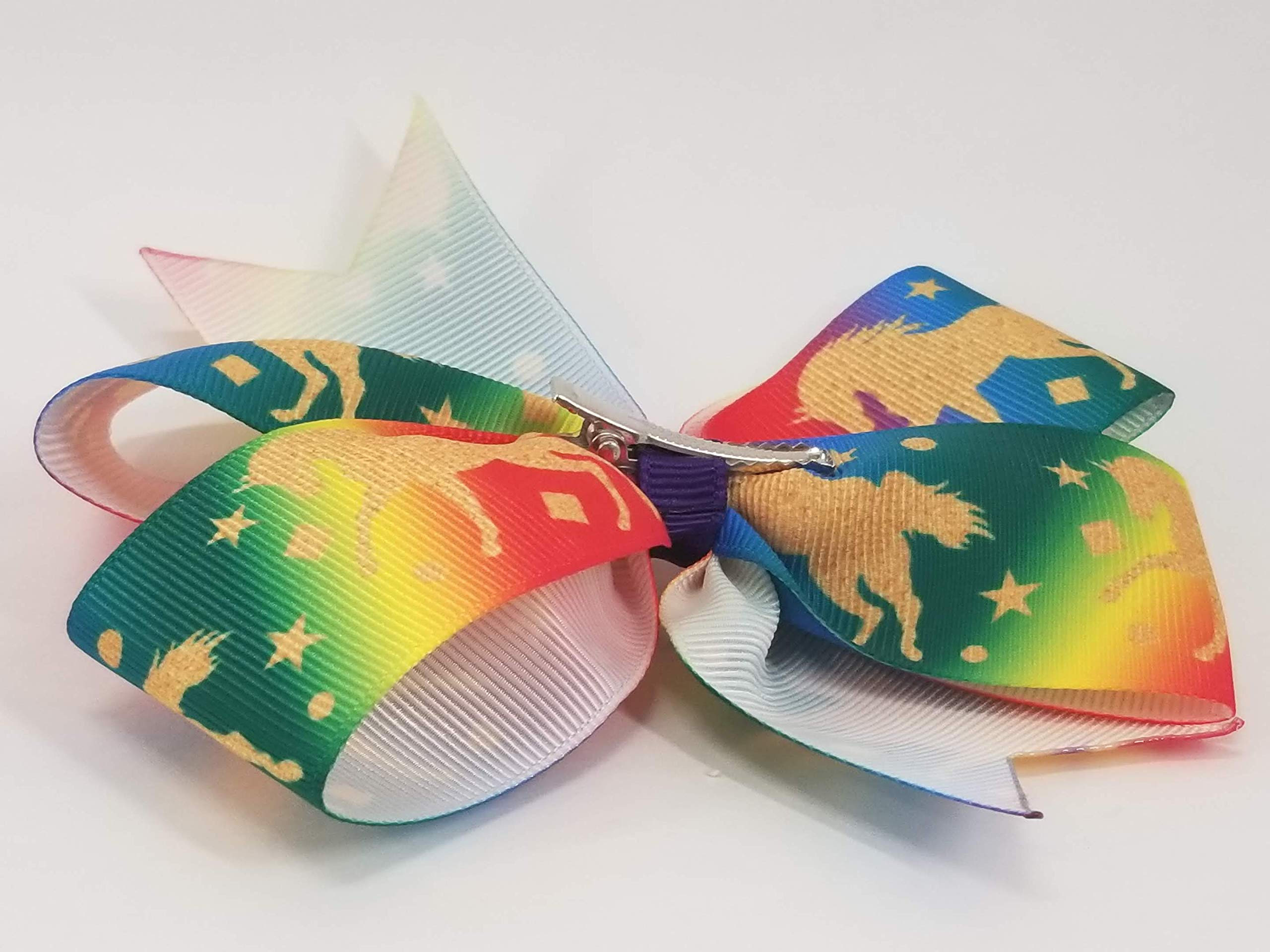 Rainbow Unicorns Hair Bow 11