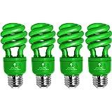 4 Pack BlueX CFL Green Light Bulb 13W - 50-Watt Equivalent - E26 Spiral Replacement Bulbs - Green Bulb Decorative Illuminatio