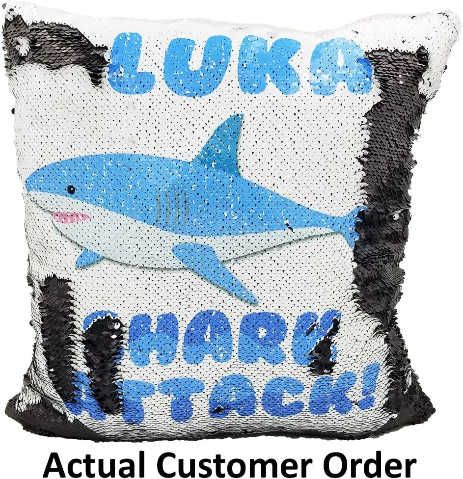 Personalised Cool Shark Boys Kids Childrens Cushion Cover Pillow Case /& Filling