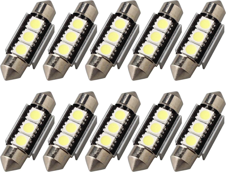 10PCS 36MM C5W LED Bulbs Super Bright White Festoon LED Car Light Canbus 12V 5050 3 SMD Chips LED Dome Light for European Car Interior Reading Tail Map License Plate Courtesy Lamps 6500K