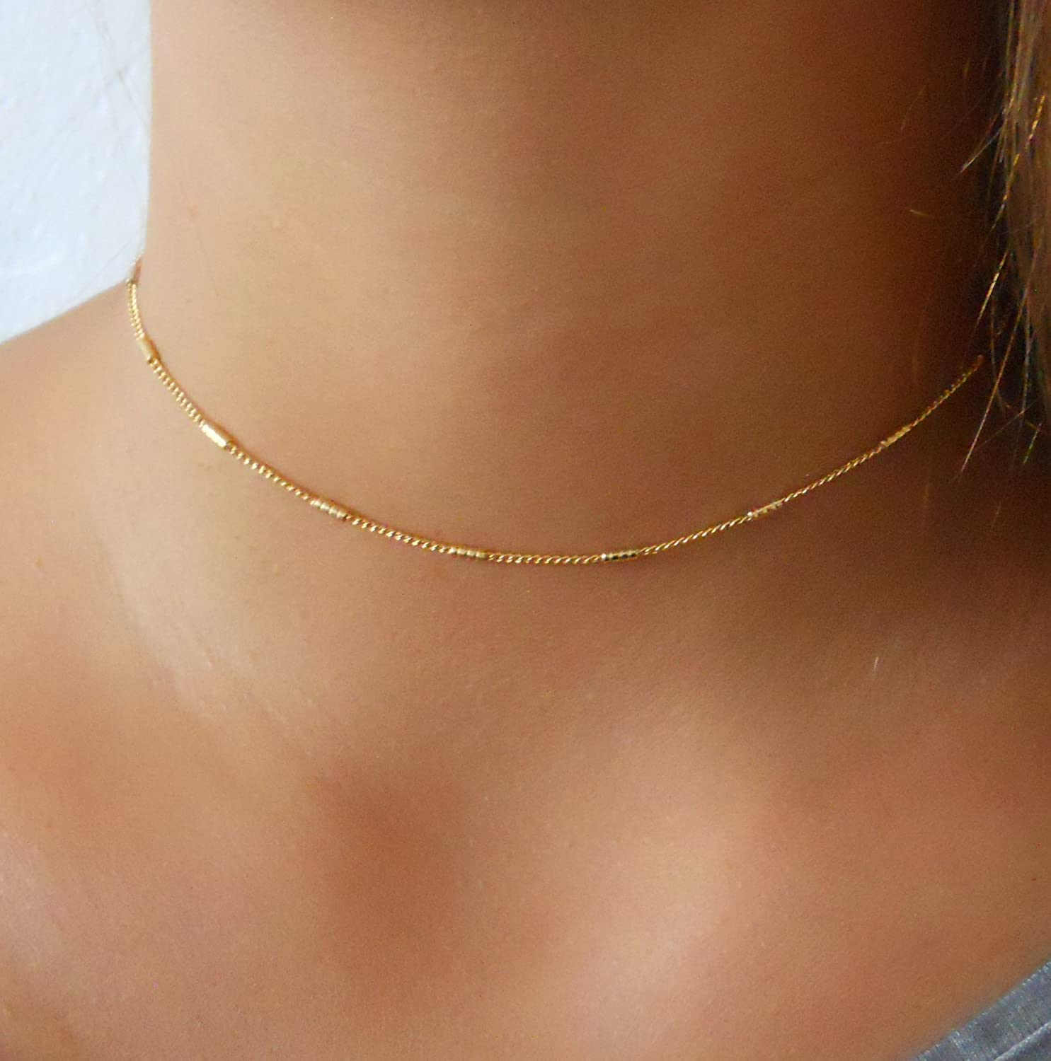 Delicate Gold Choker - Chain With Tiny Tubes