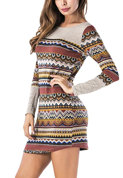 e77f71b5607 BLUETIME Women Striped Bodycon Dress Long Sleeve Boho Knit Mini Sweater  Dress (S