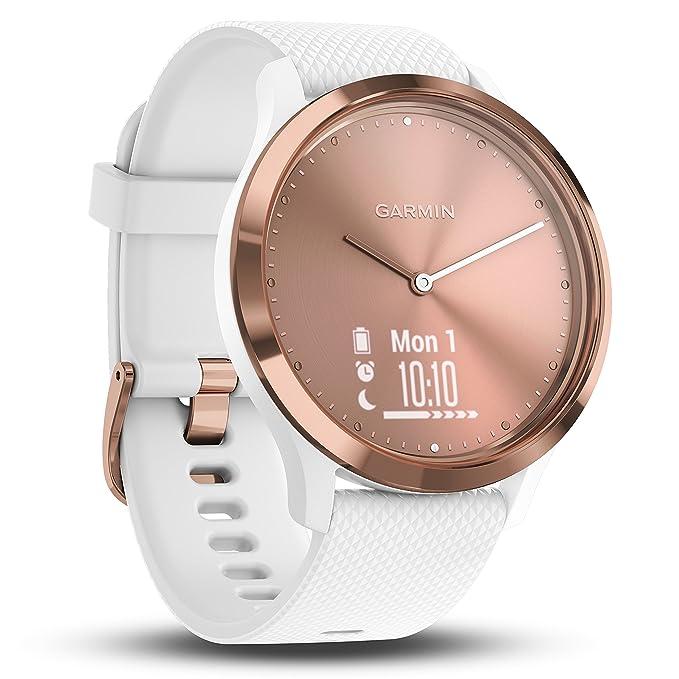 Garmin Vivomove HR Sport Rose Gold-White S/M Monitor Actividad, Adultos Unisex, Oro Rosa