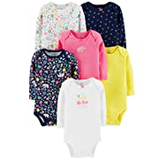 Carter's Unisex Baby Long-Sleeve Bodysuits (6 Months, 6 Pack Girls)