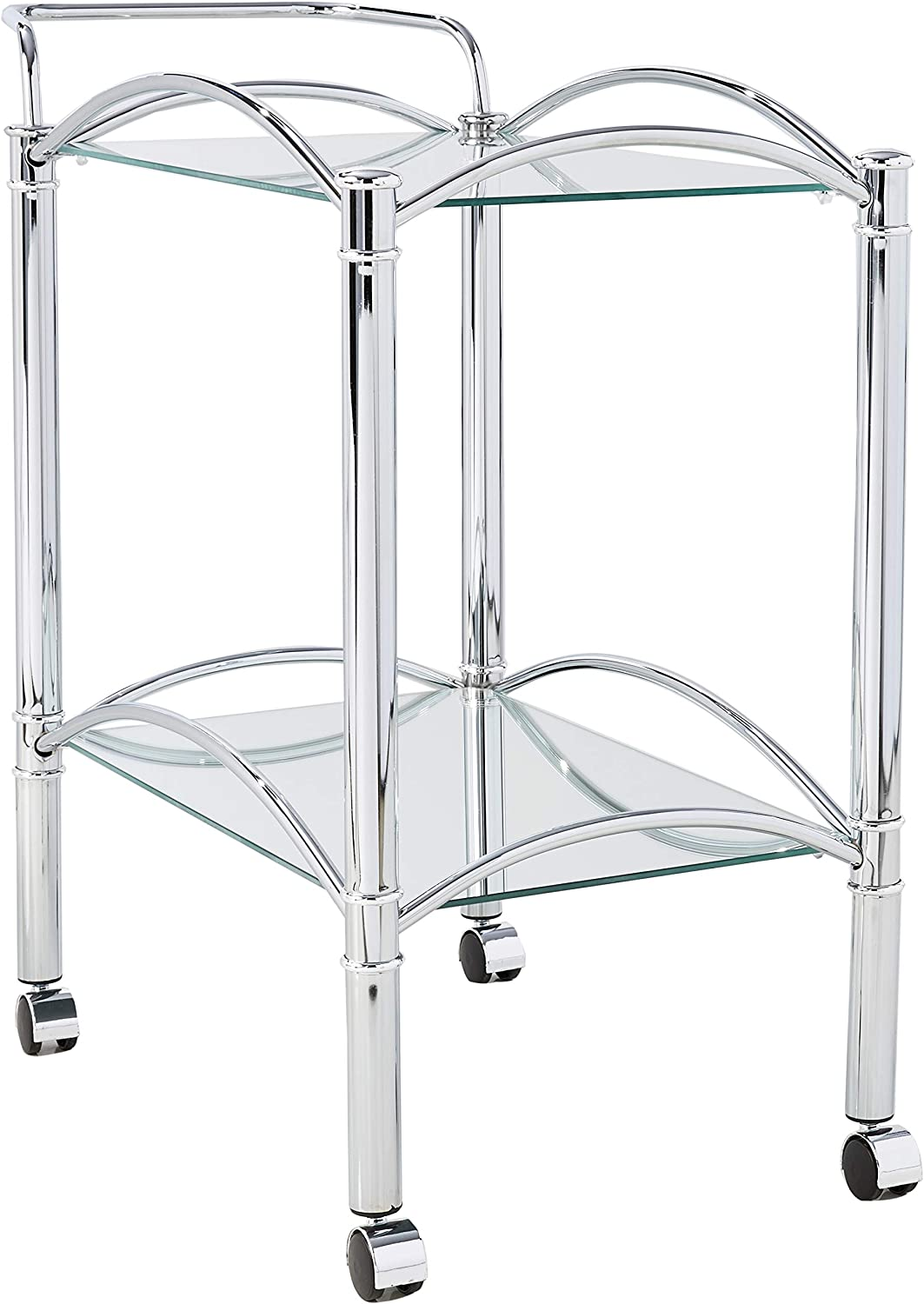 Serving Cart with Mirrored Bottom Shelf and Casters Chrome and Clear