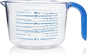 Arrow Home Products 03212 4-1/2 Cup Cool Grip Measure Cup, 36-Ounce Capacity, Crystal with Blue Handle and Graduates