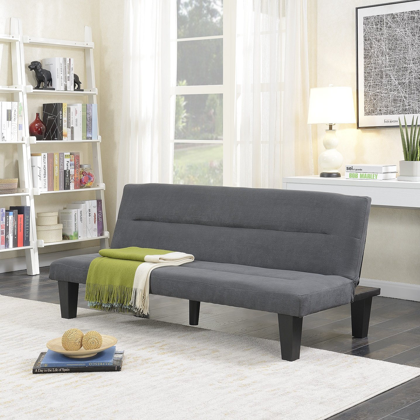 Belleze Futon Sofa Bed Furniture Sleeper Adjustable Lounger Convertible Comfort Low Seat Microfiber w/Wooden Legs, Gray by Belleze