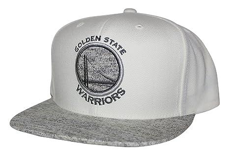8b343dc8486b35 Mitchell & Ness NBA Solid Crown Spaceknit Visor Snapback Hat Cream/Gray (Golden  State