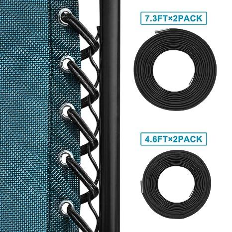 Keten Kit lacets élastiques avec embouts refermables, Pour Chaise Longue  pliante et inclinable Transat de Jardin, Zero Gravity Chaise pliante ...