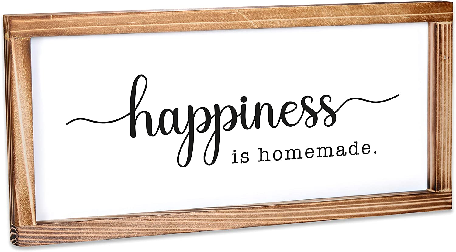 MAINEVENT Happiness is Homemade Sign - Rustic Farmhouse Decor for The Home Sign - Wall Decorations for Living Room, Modern Farmhouse Wall Decor, Rustic Home Decor with Solid Wood Frame - 8x17 Inch