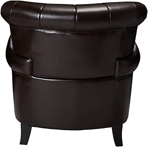 Best Selling Clifford Channel Tufted Leather Club Chair, Brown