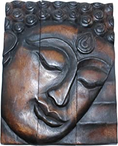 Hand Carved Wooden Thai Buddha Face Wall Art Plaque Hanging, Buddha Panels, Teak Dark Brown wood, Wall Art Hanging Handmade, Wall Home Décor Collectible