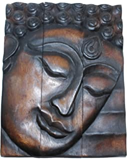 hand carved wooden thai buddha face wall art plaque hanging buddha panels teak dark