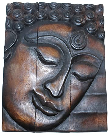 Hand Carved Wooden Thai Buddha Face Wall Art Plaque Hanging, Buddha Panels,  Teak Dark