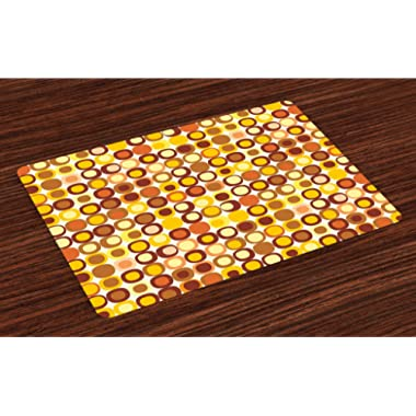 Ambesonne Mid Century Place Mats Set of 4, Kitsch and Retro Styled Round Edged Square Pattern in Old Earth Tones, Washable Placemats for Dining Room Kitchen Table Decoration, Brown Yellow Coral