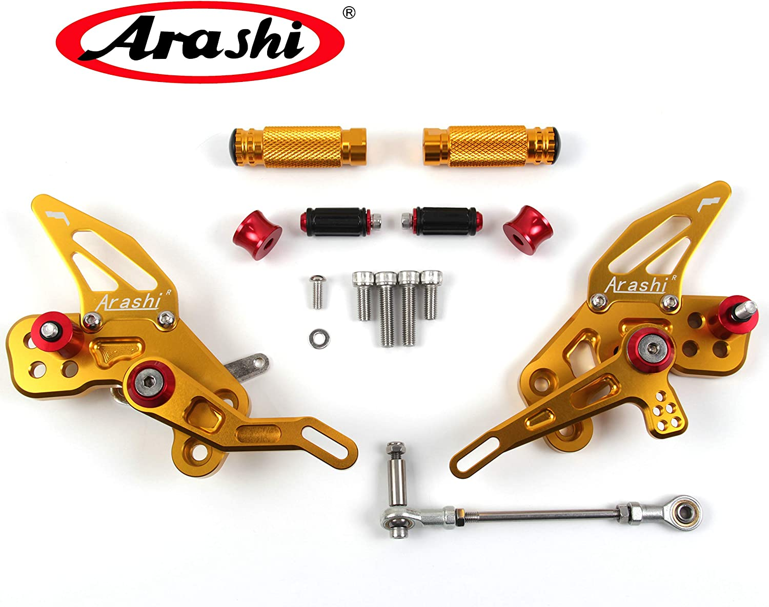 Arashi Rearsets Footrests FootPegs for KAWASAKI NINJA ZX10R 2008 2009 2010 Motorcycle Accessories Adjustable Foot Peg Rest ZX-10R ZX 10R 1 Set Gold 08 09 10