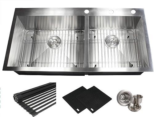 43 INCH 6040 Zero Radius Design 16 Gauge Topmount Drop In Over the Counter Large Double Bowl 5050 Stainless Steel Kitchen Sink Premium Package 43 INCH 6040 KKR-FT4321-6040
