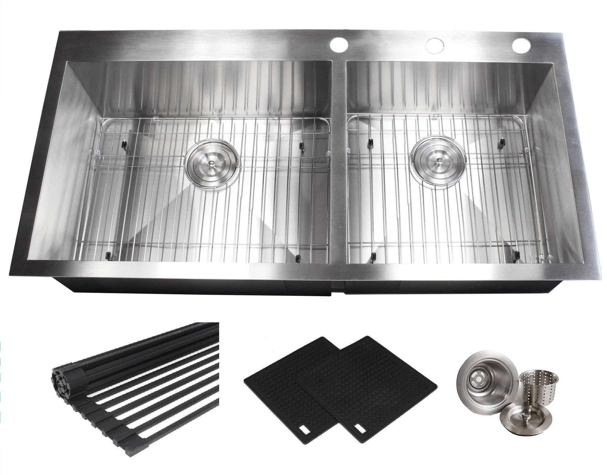 43 INCH (6040) Zero Radius Design 16 Gauge Topmount Drop In Over the Counter Large Double Bowl 5050 Stainless Steel Kitchen Sink Premium Package 43 INCH (6040) KKR-FT4321-6040