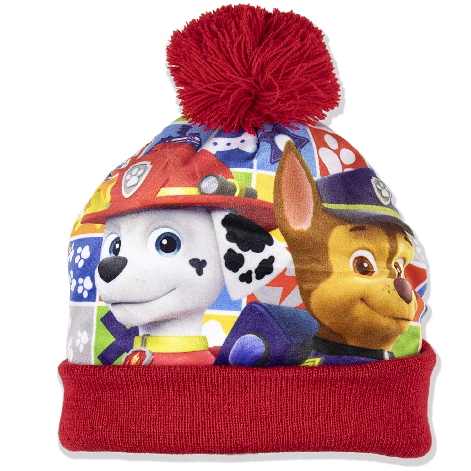 Paw Patrol Official Boys Warm Winter Bobble Style Hat with Pom Pom Marshall and Chase Character 2-8 Years