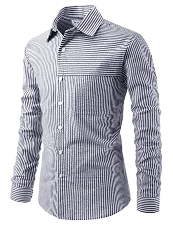 b2700315ad3 NEARKIN Mens Slim Cut Look Pinstripe Design Seersucker Daily Cotton Shirts