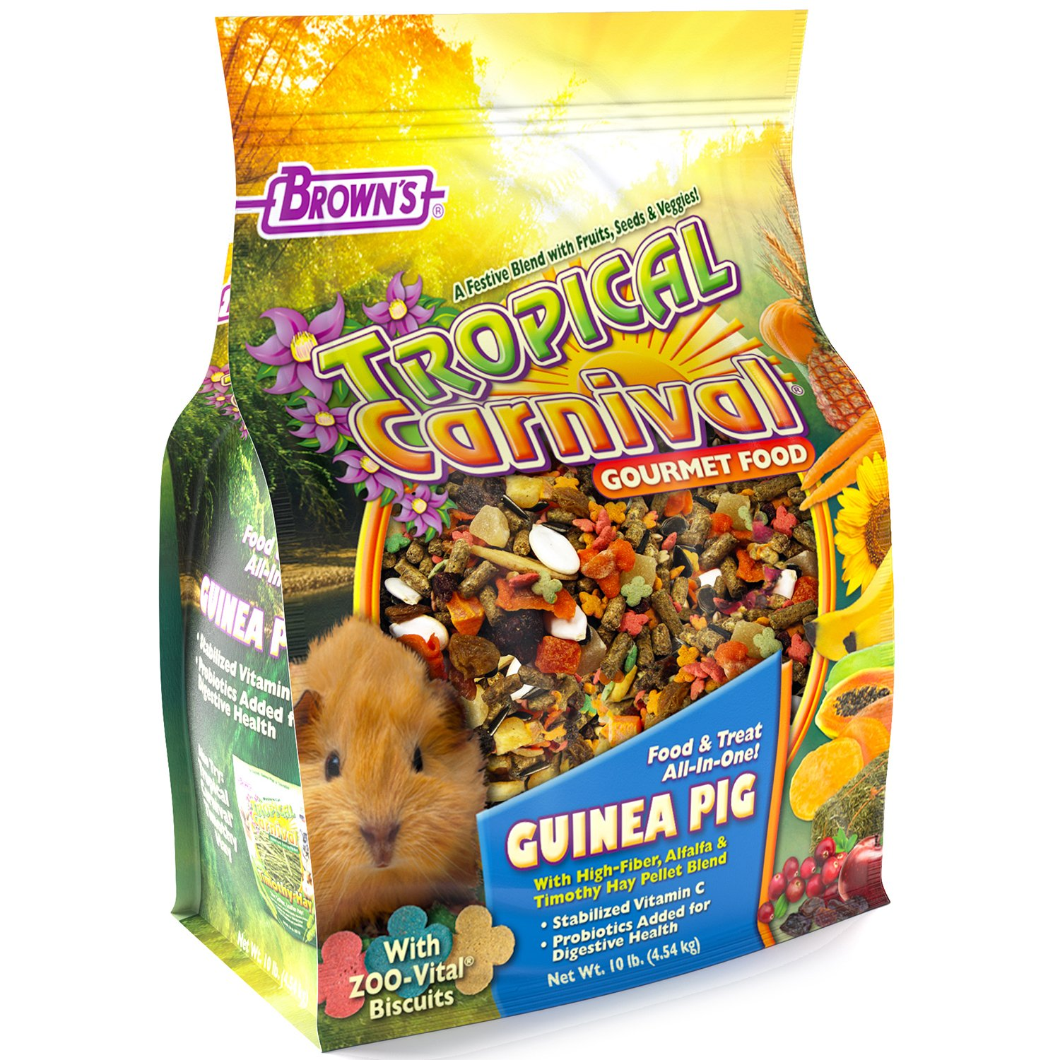 F.M. Brown's Tropical Carnival Gourmet Guinea Pig Food with Alfalfa and Timothy Hay Pellets - Vitamin-Nutrient Fortified Daily Diet by Tropical Carnival