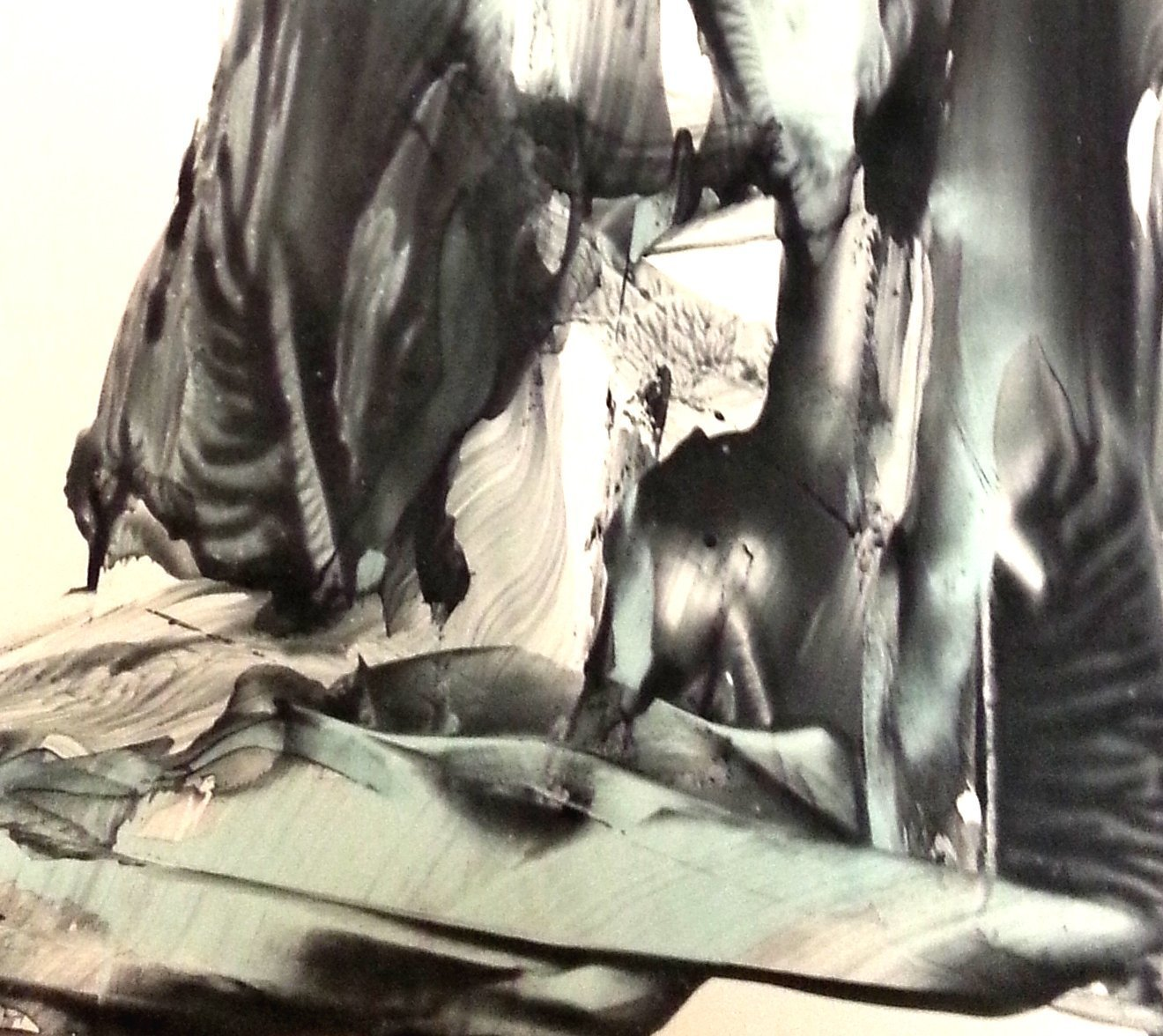 Black and White Abstract Gesture Drawing with Indian Ink on Paper-4 by Red Studio Gallery