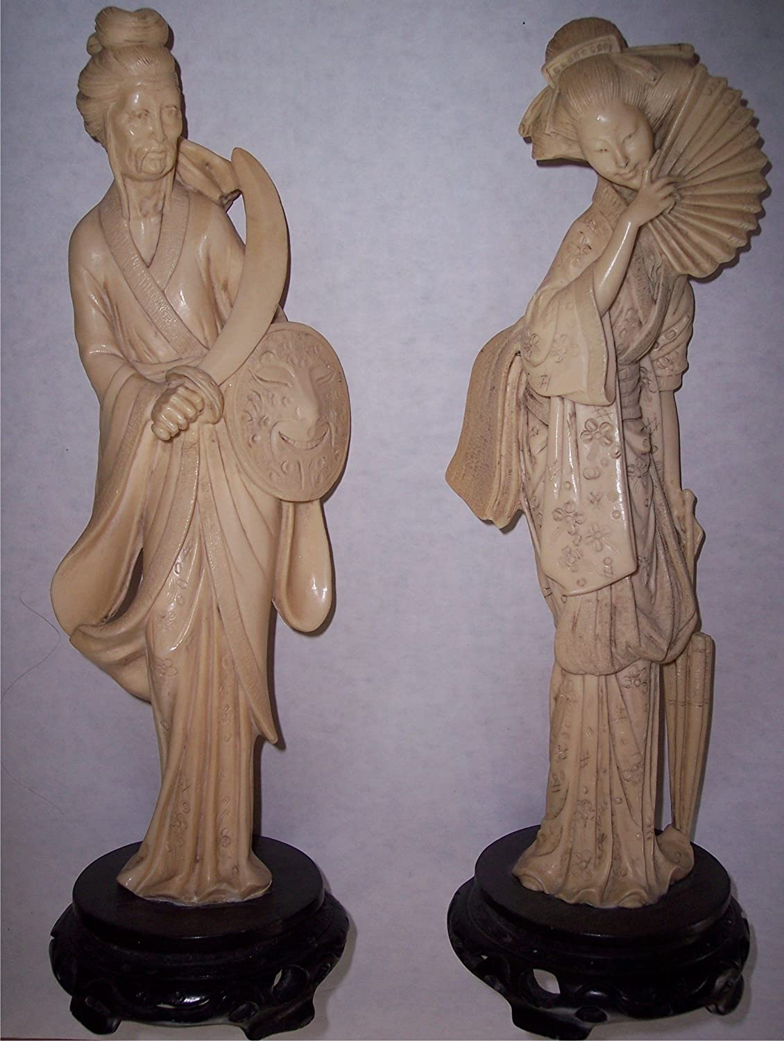 Amazon Com Oriental Statue Figurines Set Of 2 Geisha Samurai 13 In Tall Carved Ivory Simulated Faux Asian Chinese Japanese Sculpture Home Kitchen