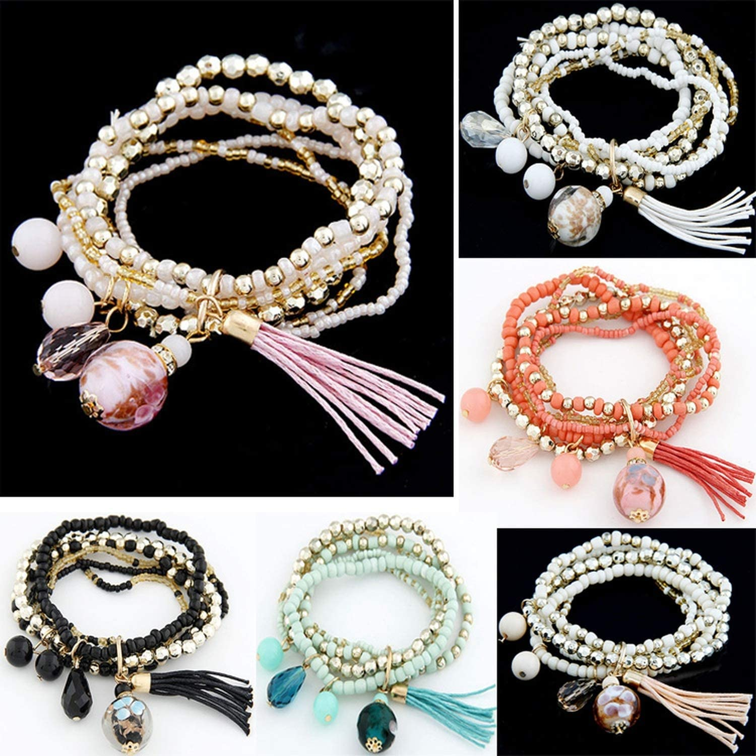 LM-wy Fashion Jewelry Handmade Bohemian Style Candy Color Multilayer Beads Bracelet with Tassels Pulseira Bracelets for Women