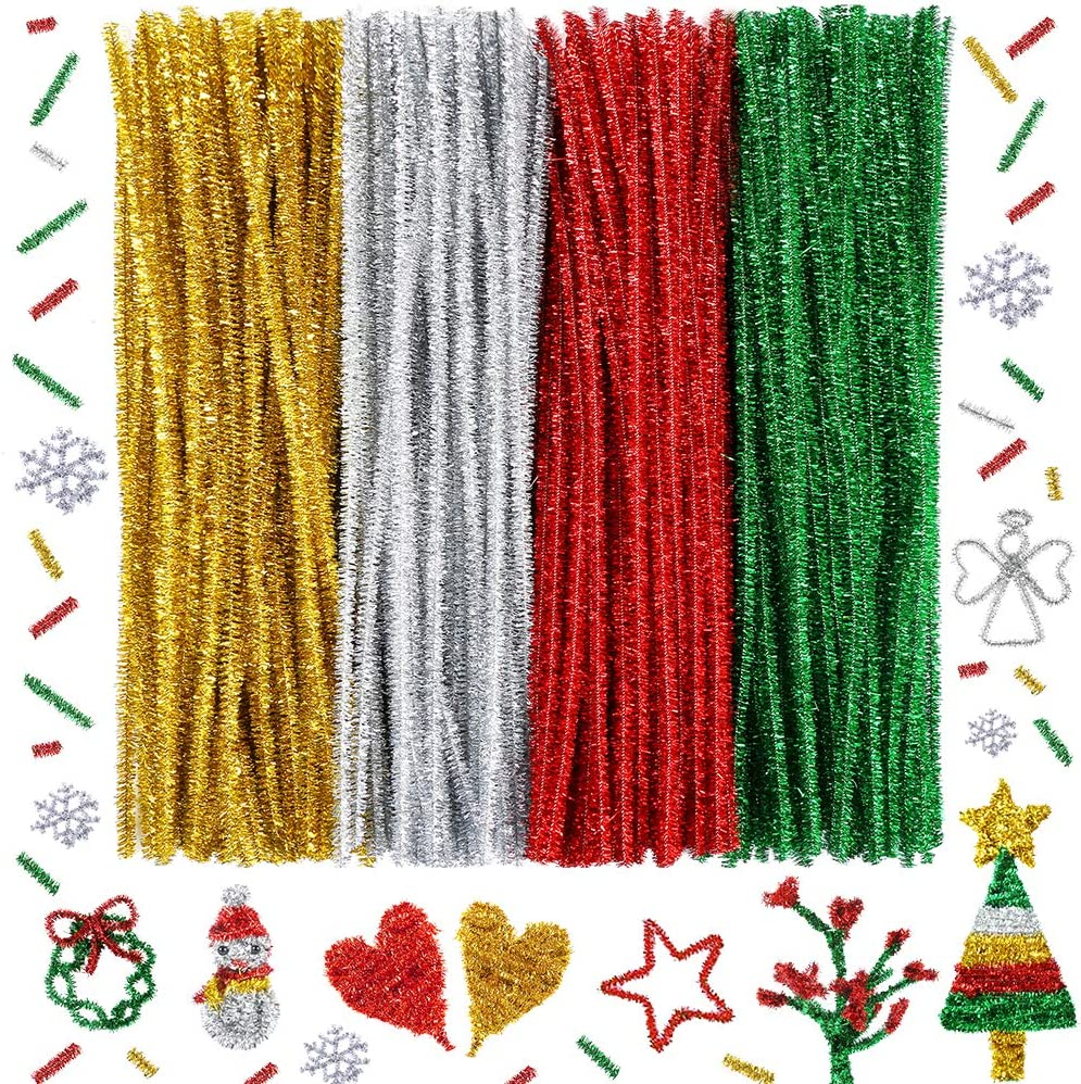 Red, Green, Gold, Silver Caydo 300 Pieces Christmas Pipe Cleaners Glitter Chenille Stems for DIY Craft Christmas Decoration