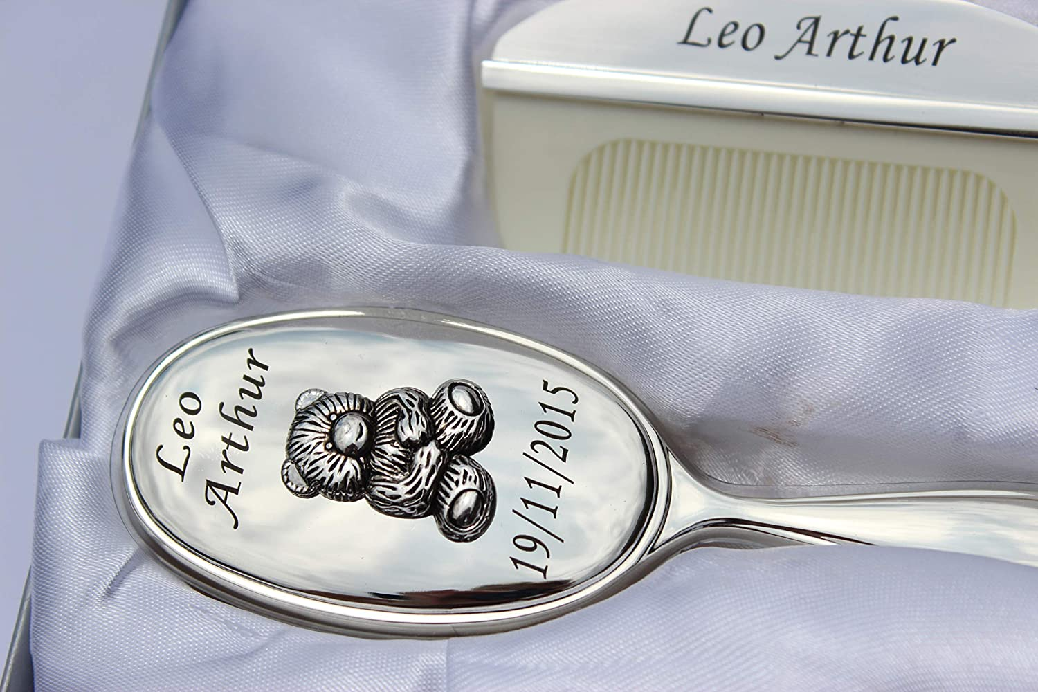 Silver Plated Brush and Comb Set Teddy Bear Design Engraved Baby Gift Personalized Baby Gift