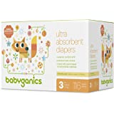 Babyganics Ultra Absorbent Diapers, Size 3, 116 Count