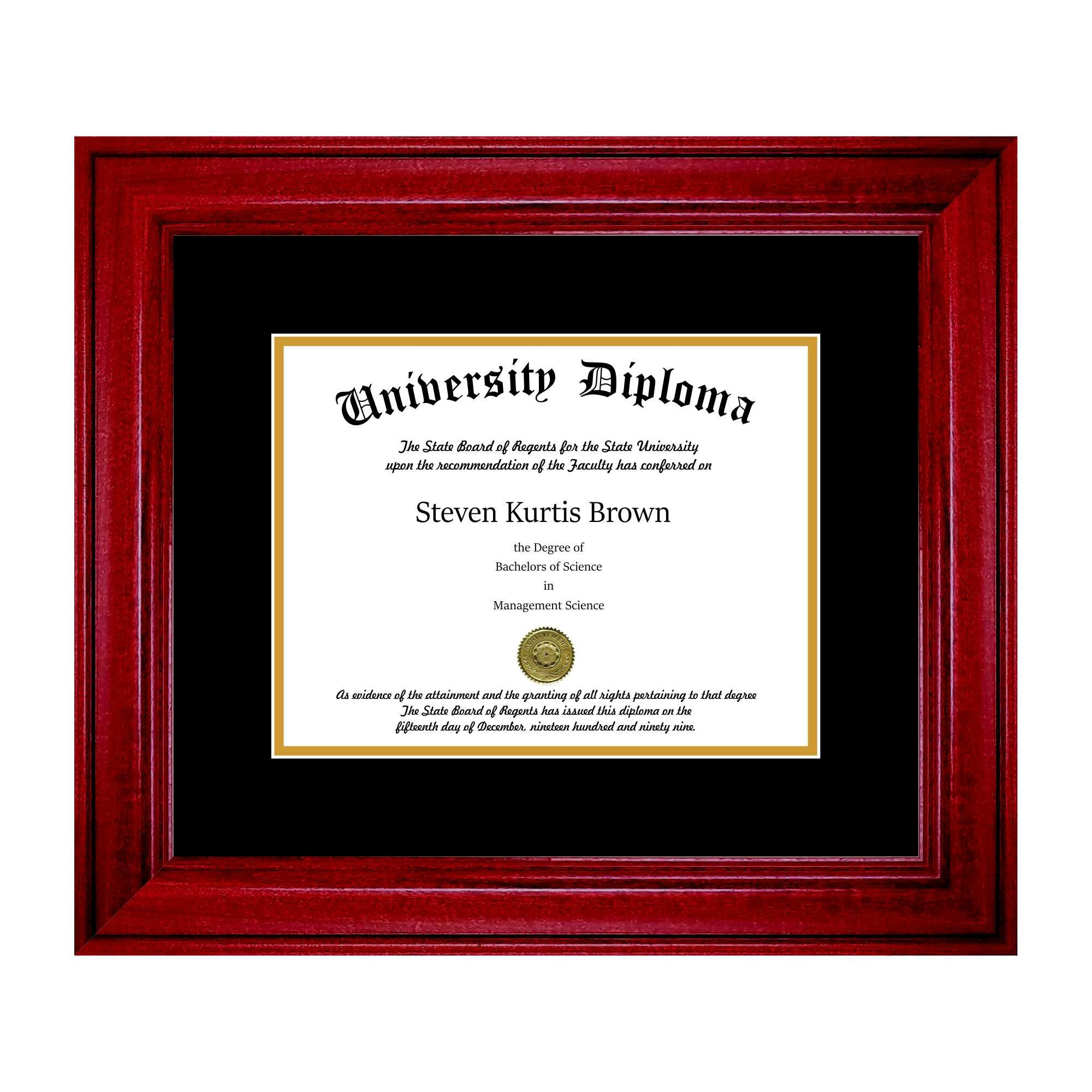 Single Diploma Frame with Double Matting for 8.5'' x 11'' Tall Diploma with Cherry 2'' Frame
