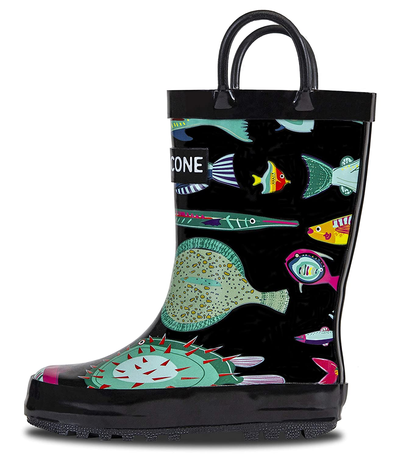 LONECONE Rain Boots with Easy-On Handles in Fun Patterns for Toddlers and Kids LONE CONE