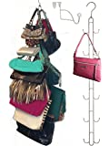 Over Door Hanging Purse Storage Organizer - DURABLE, Holds 50 POUNDS, SWIVELS side to side for easy access; Purses, Handbags, Satchels, Crossovers, Backpacks,12 Hooks, Chrome