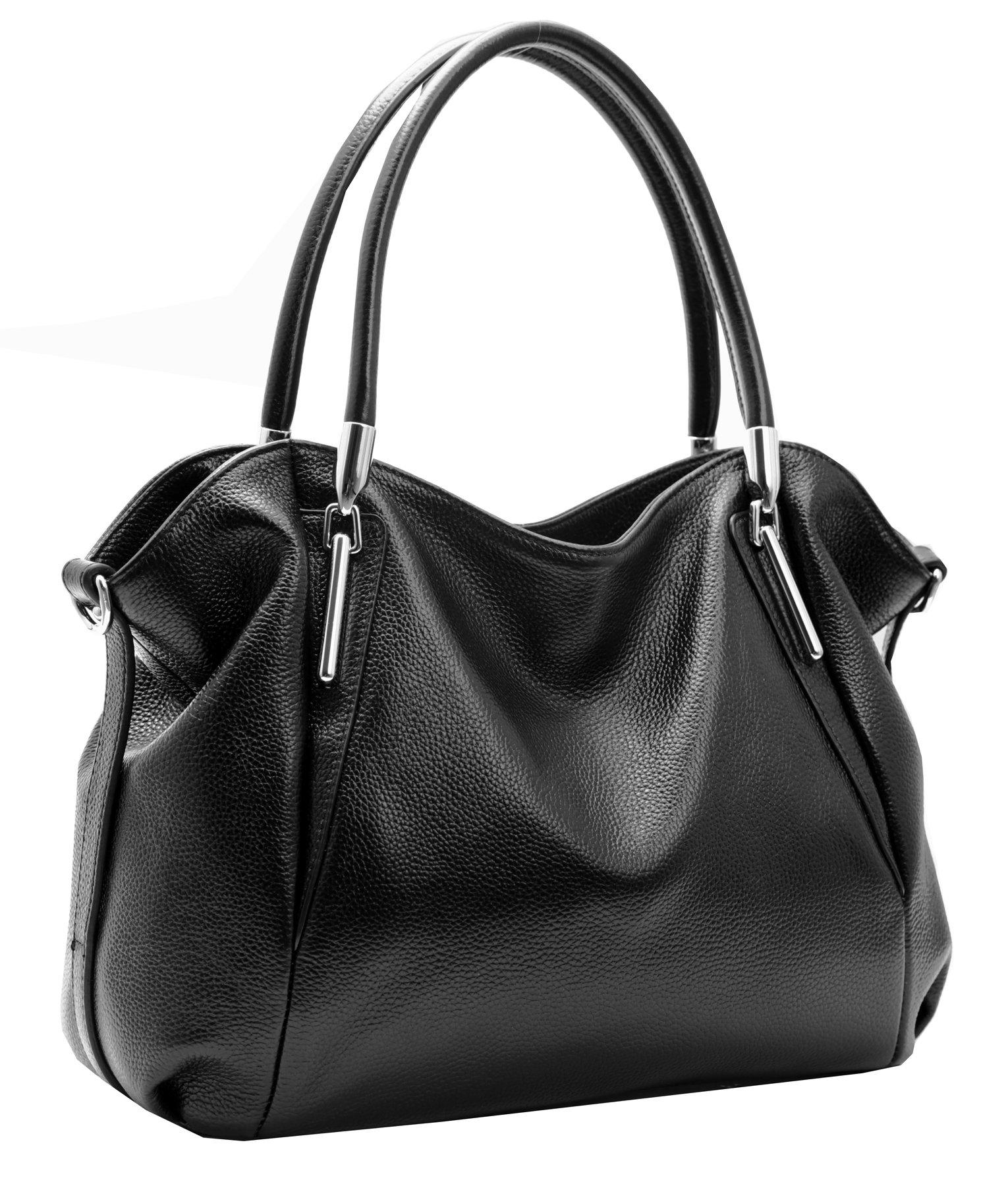 Heshe Womens Leather Handbags Tote Bag Top Handle Bag Hobo Shoulder Handbag Designer Ladies Purse Cross Body Bag (Black)