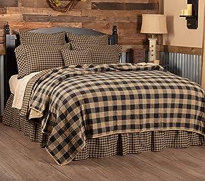 VHC Brands Primitive Bedding Cotton Pre-Washed Check California King Coverlet, Raven Black