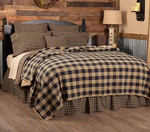 COUNTRY PRIMITIVE FARMHOUSE BLACK CHECK QUILT COLLECTION VHC BRANDS