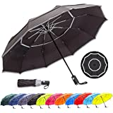HOSA Auto Open Close Compact Portable Lightweight Automatic Repel Folding Travel Umbrella, Double Vented Windproof UV…